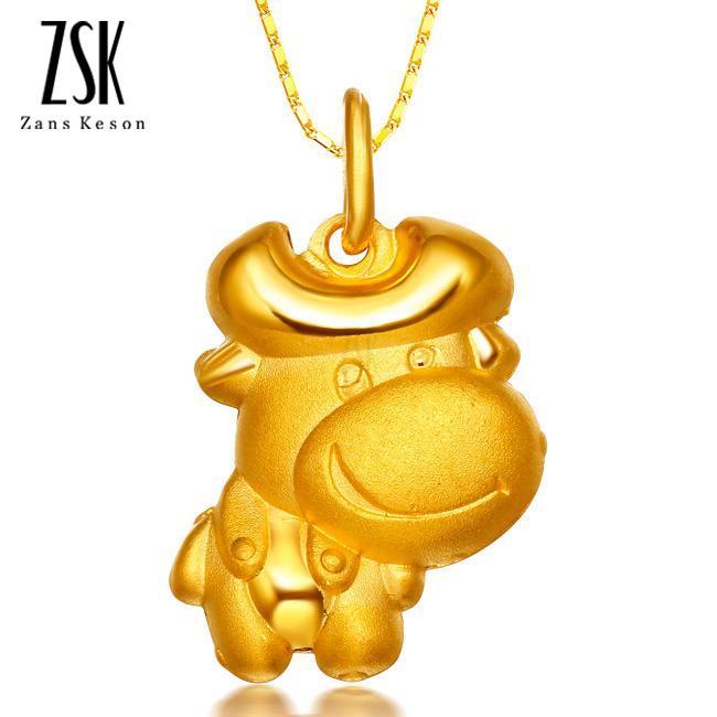 谷谷牛 千足金吊坠,女士黄金项链,中国黄金项链,图片,款式,价
